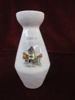 Bodrogkeresztúri porcelán váza, kőszegi várral és felirattal, 18 cm magas.