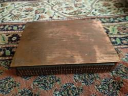 Régi vörösréz, fa betétes doboz, iparművészeti ékszeres doboz