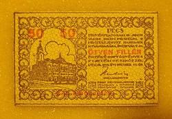 50 Fillér SZÜKSÉGPÉNZ Pécs Pénztárjegy 1919  UNC