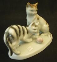 Porcelán cicapár - jelzett porcelán