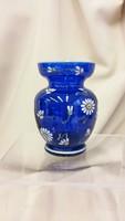 Virágdekoros régi kék üveg kisváza