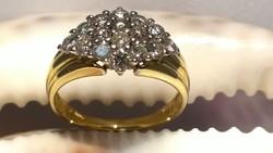 Gyémánt Aranygyűrű 14 karát, 16 db Briliáns Összesen 1,328 karát, /Fehér SI-P/