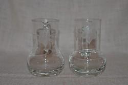 2 db üveg kis kiöntő / kancsó csiszolt szőlő mintával   ( DBZ 0039 )