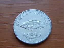 UGANDA 200 SHILLINGS 2008 Chiclid fish, Bölcsőszájúhal #