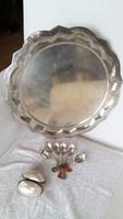 Kör alakú ezüst tálca, régi