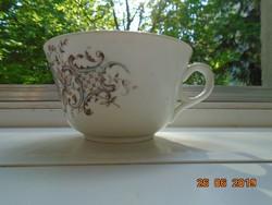 Szecessziós kézzel festett virágos rácsos mintás számozott teás csésze