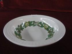 Spanyol porcelán kompótos tányér. Nyomatos szegéllyel, zöld mintával, átmérője 14,5 cm.