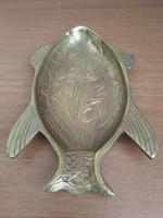 Indiai, hal formájú, virágmintás, réz hamutál eladó