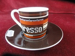 Német porcelán eszpresszós pohár + alátét. Espresso felirattal, könitz.