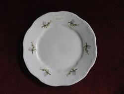 Zsolnay porcelán süteményes tányér, apró lila virágmintás.