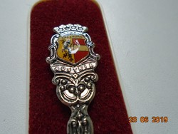 Ezüstözött souvenir kiskanál zománc címerrel Salzburg Austria dobozában