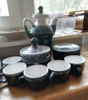 5 személyes iparművészeti retro kerámia kávés készlet fekete kék fehér színátmenetes