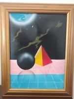 Eladó modern olajfestmény 35x45 cm, kis hibával