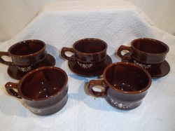 Kerámia - mázas festett - 5 csésze 3 tányér - 2 dl - hibátlan