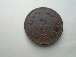 4 Krajcár. 1861 B. verde.