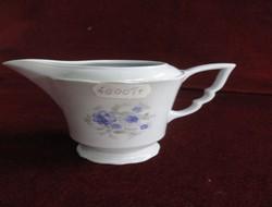 Zsolnay porcelán manófüles tejkiöntő. Kék virágmintás, antik darab, 10 cm magas.