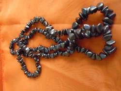 Mesés antik valódi hematit nyaklánc igen hosszú  80 cm  575,5 ct