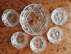 Gyümölcs mintás csiszolt kristály süteményes / kompótos készlet