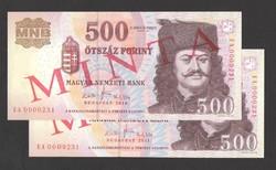 500 forint 2010, és, 2011 minta, mind a kettő sorszáma: 231-es!! UNC!! RITKA!!