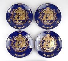 0X453 Aranyozott királykék porcelán dísztányér 4db