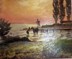 Orsós Ferenc:Ló mosdatás. Olaj,falemez. Mérete:23x27 cm.