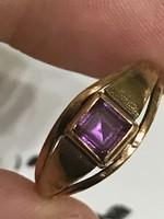 14K-os 585 jelzett arany gyűrű Ametiszt kővel ékítve 17mm belső  átmérő