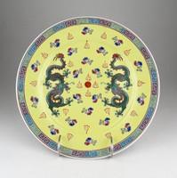 0X454 Jelzett sárkányos kínai porcelán tányér 25cm