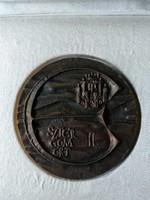 Ligeti Erika Esztergomért bronz plakett adományozó papírral