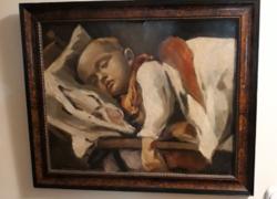 Antik festmény,  Alvó gyermek.