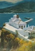 """Bánfalvy Ákos """"Skopelos"""" c. olajfestmény szép keretben ingyenes házhoz szállítással"""