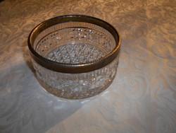 Fém szegéllyel  üveg  kínáló tál