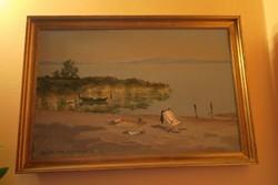 Csáky Maronyák József (611)(1910-2002) Vízparti táj, napágy és csónakok (Olaj, farost, 50x55cm). 385