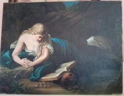 Bűnbánó Magdolna (1800-as évek eleje) gyönyörű olaj-vászon alkotás