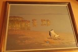 Csáky Maronyák József (609)(1910-2002) Napágy a parton (Olaj, farost, 70x80cm). 420.000 Ft
