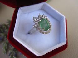 Hatalmas, természetes fűzöld SMARAGD köves 925 ezüst gyűrű