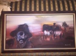 Slezák Lajos festmeny (keret 37x67cm)