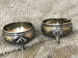 Ezüst Dianás fűszer tartók párban plusz egy ezüst kiskanállal