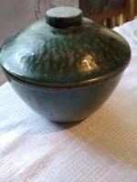Régi szép 18 cm magas zöld kerámia tál nehéz