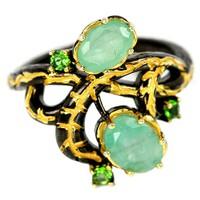 Valodi Termeszetes  Brazil Smaragd Krom Diopszid 925 Ezust 2 Tonusu Gyuru