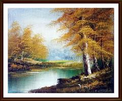 Őszi hangulatban - jelzett, olajfestmény, 21 x 26 cm