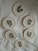 6 régi porcelán poháralátét, német kis tálka kb az 50-es 60-as évekből