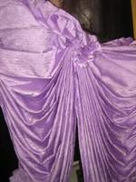 Gyönyörű halvány orgonalila ráncolt selyemből vintage stílusú drapéria függöny