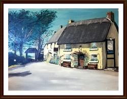 Angol vidéki házudvar - Jelzett olajfestmény ( 30 x 39.5, olaj )