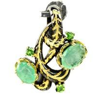 Valodi Termeszetes  Brazil Smaragd Krom Diopszid 925 Ezust 2 Tonusu Medal