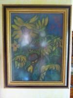 Eladó Pap Gyula: Virágcsendélet olajpasztell festménye
