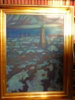 Eladó Pap Gyula: Téli táj című s olajvászon festménye