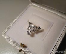 Szecessziós köves ezüst gyűrű - belső átmérője:  16,8 mm