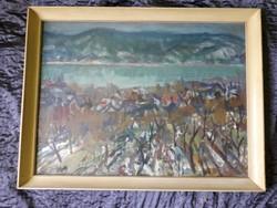 Uhrig Zsigmond - Dunai Táj - olaj / vászon festmény 1974-ből