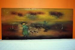 """""""ŐSZ"""", cimű festmény. 50 x115cm.-es. Várkonyi János olajfestménye"""
