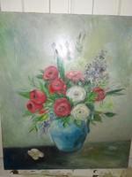 Csodaszép festmény, virágos csendélet jelzett olajfestmény keret nélkül